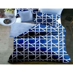 Cotton Blue Double Bed Sheet