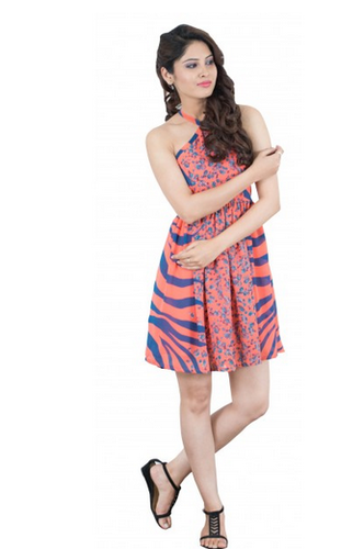 S Multicolor Animal Print Dress