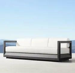 Aditya Furniture Leather Powder Coated 3 Seater Metal Sofa, For Home, 5 Inch