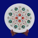 White Marble Plate Marquetry Malachite Handmade