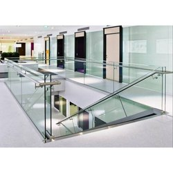 Stairs Modern Stainless Steel Glass Railing, For Hotel, Office