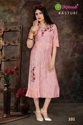 Mithoodi-Kasturi-Tc Stylish Designer Rayon With Embroidery Work Long Kurtis