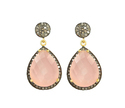 Pink Chalcedony Diamond Pave Set Earrings