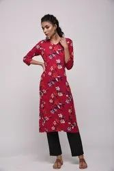 Printed Rayon Kurti In Red With Beautiful Floral Prints