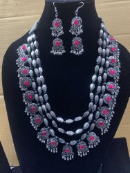 German Oxidized Silver Statement Style Afghani Designer Multi-Layer Necklace Set With Earrings