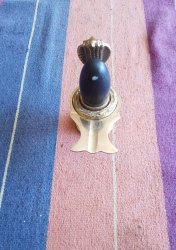 Black Shivling With Brass Yonibase