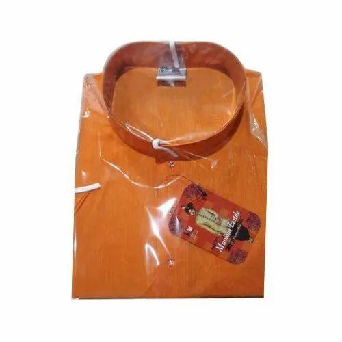 Mamoni Textile Mens Orange Cotton Casual Kurta