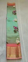 Impressive Artisan Party Wear Spun Silk Saree, Machine Made, Standard 6.5 meter with blouse