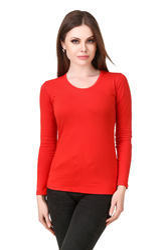 Women Full Sleeve Red T Shirts, Size: XS-XL