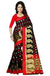 93f56f6d2f Maheshwari Cotton Black Mango Designer Cotton Silk Saree, With Blouse Piece