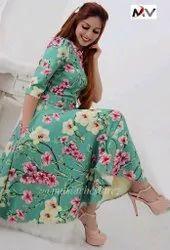 Casual Women DGC014 - Flower Long Western Wear Gown Midi