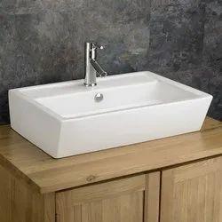Bhumi Incorporation White Counter Top Bathroom Wash Basin