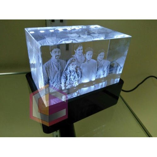 White 3D Crystal Engraved Gift