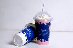 Plastic Transparent 300ml Printed Milkshake Glass, For Restaurant