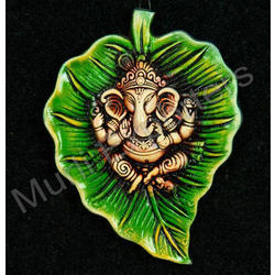 Terracotta Ganesha Leaf Style Wall Hanging