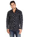 Regular Fit Black Hand Printed Floral Mens Cotton Shirts