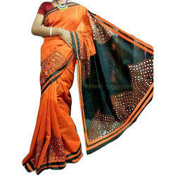 2bb29e678ee5fb Embroidered Mirror Work Cotton Saree, 5.5 m (separate blouse piece)