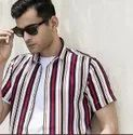 Striped Multi Half Sleeve Men Casual Cotton Shirt