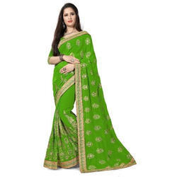 8b06d5d0e Georgette Green Embroidered Designer Sarees