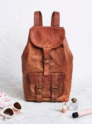 Rucksack, Hiking Shoulder Leather Unisex Travel Handmade Backpack