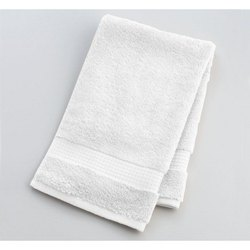 MSJ Clothings White Plain Cotton Hand Towel, For Bathroom, Rectangular
