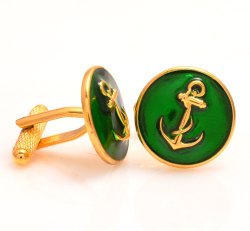 925 Silver Anchor Cufflinks In Green Enamel