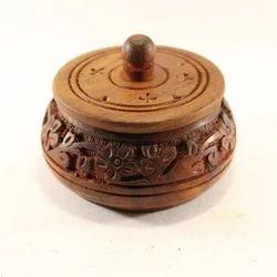 Brown Wooden Hand Carved Vermillion Box