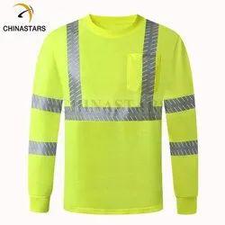 Warnmat Poly cotton Green Reflective T-shirt Full sleeves