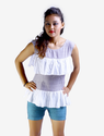Grey Striped Frilled Muslin Top