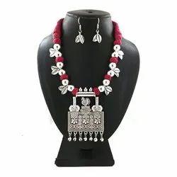 Oxidized Seven Pendent Leaf Necklace Set