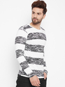 Men Round Neck Cotton Striped T-Shirt