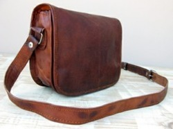 Vintage Leather Landscape Curve Saddle Bag