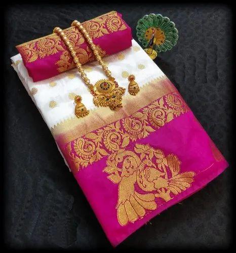 Multicolor Kanjivaram Pure Silk Saree With Blouse Piece
