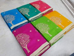 Party Wear Cotton Cut Worked Embroidery Fabric Sarees