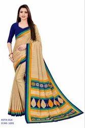 Goodfeel Checks Printed Kota Silk Uniform Saree for Teacher