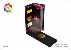 Home Delivery Menu Cards Leatherette Cover Printing Services, Size: 4.5