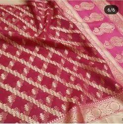 Soft Silk Block Print Kora Muslin Organza Saree, Length: 6.3 m