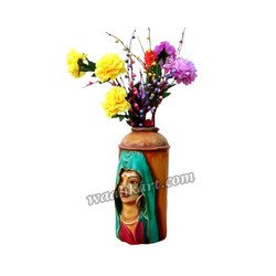 Wooden Coloured Vase With Lady Face In Veil