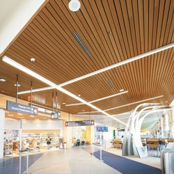 Linear Wooden Shade Metal Ceiling
