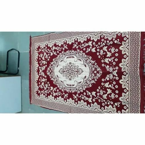 Red Printed Chenille Cotton Dhurrie, Size: 4.5ft X 6ft