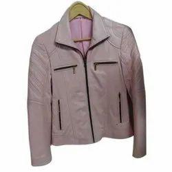 Plain Ladies Faux Leather Jacket