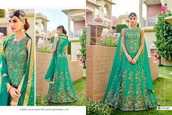 Santoon Green Semi-Stitched Anarkali Suit