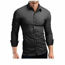 Black Small & Medium Men's Full Sleeve Shirt
