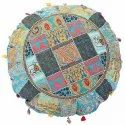 Round Floor Cushions Indian Vintage Embroidered Home Decor Cotton Cushions 32 Inches
