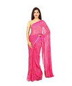 Pink Color Semi Chiffon Jodhpuri Bandej Saree