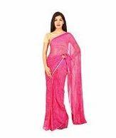 Pink Color Semi Chiffon Jodhpuri Bandej Saree