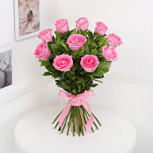 Bunch Of 10 Pink Roses At Rs 425 Pack Flowers Cakes Corporate