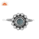 Apatite Gemstone Round Stackable Sterling Silver Oxidized Ring Wholesale
