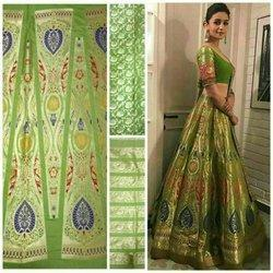 Banarasi Silk Green Party Wear Unstitched Lehenga