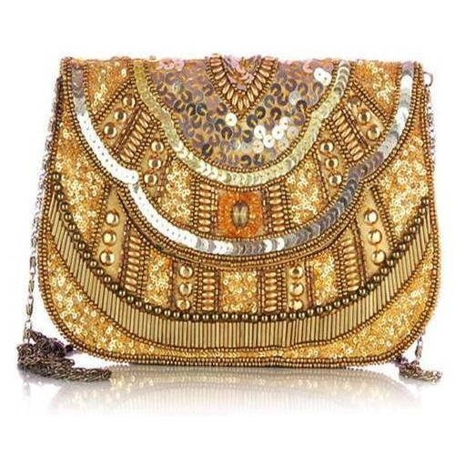 Golden Hand Embroidered Clutch, Rs 500 /piece,